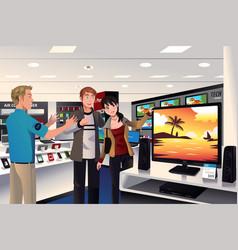 Couple buying big tv vector