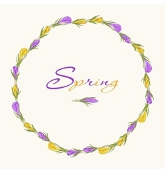 crocus wreath 3 purple yellow vector image