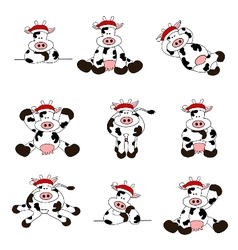 cute christmas cow set vector image