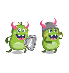 cute monster carrying shield and wearing helmet vector image