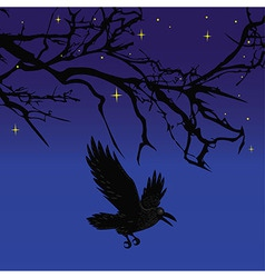 Dark crow bird flying over scary halloween night t vector image