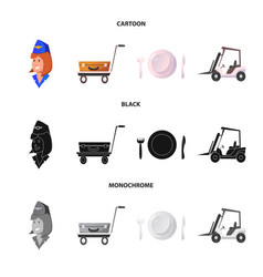 Design of airport and airplane icon set of vector