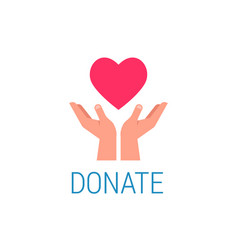 donation poster with hands holding red heart vector image