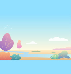 fantasy cozy simple minimalistic autumn landscape vector image