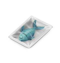 Fish food pack isolated meat isometric disposable vector