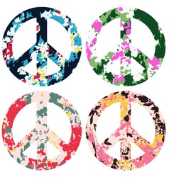 floral peace set vector image