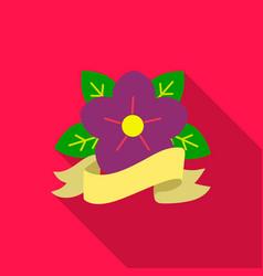 flower tattoo emblem icon flate single tattoo vector image