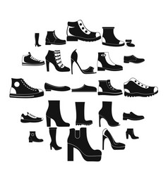 Footwear shoes icon set simple style vector