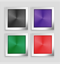 four brushed metallic buttons in different colors vector image