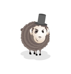 Gloomy evil cunning sheep in the hat vector