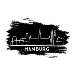 hamburg germany city skyline silhouette hand vector image