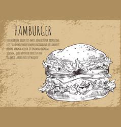hamburger sketch poster vector image