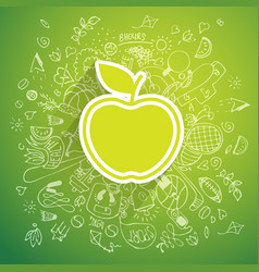 healthy lifestyle apple concept doodle vector image