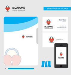 Heart lock business logo file cover visiting card vector