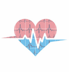Heart logo with cardiogram vector