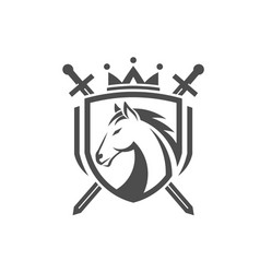 horse with two crossed swordsshield with crown vector image
