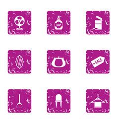hotel sale icons set grunge style vector image