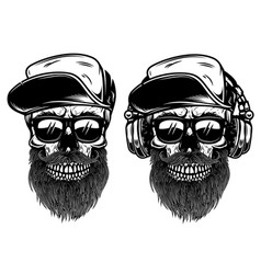 Human skulls with sunglases baseball cap and vector