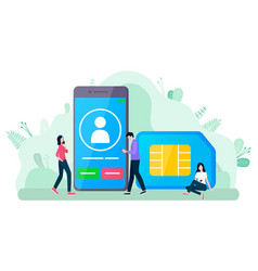incoming call on phone and sim card communication vector image