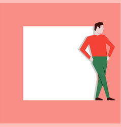 Man leaning on white stand vector