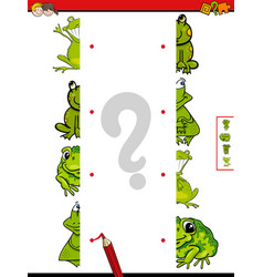 Match halves of frogs cartoon game vector