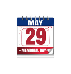 Memorial day calendar 2017 29 may vector