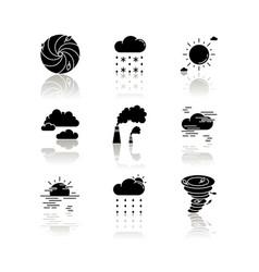 Meteorology drop shadow black glyph icons set vector