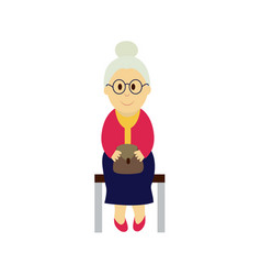 Old woman sits on a transport bench vector