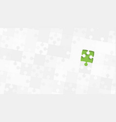 One green piece grey puzzles - jigsaw vector
