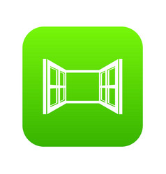 open window frame icon green vector image
