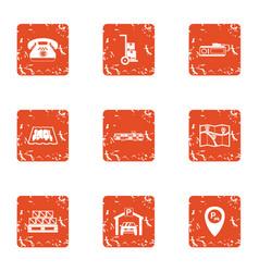 Parking navigation icons set grunge style vector