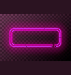 pink neon rectangle frame template on transparent vector image