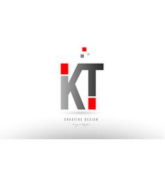 red grey alphabet letter kt k t logo combination vector image