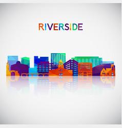 riverside skyline silhouette vector image