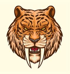 Sabretooth head mascot angry vector