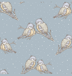 seamless background of titmouses in winter vector image