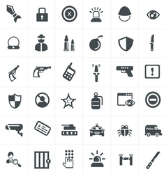 Security and weapon icons set vector