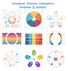 set infographics conceptual cyclic processes five vector image