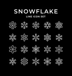 set line icons snowflake vector image