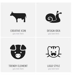 Set of 4 editable zoology icons includes symbols vector
