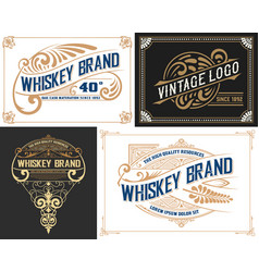 set of 4 old cards western style vector image