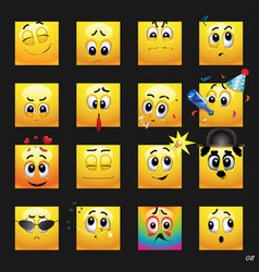 set of face icons vector image