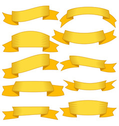 set of ten yellow ribbons and banners vector image