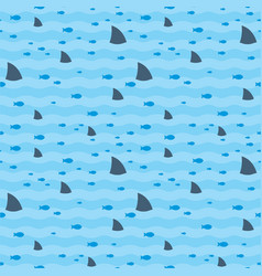 sharks and fish swimming in blue sea pattern vector image