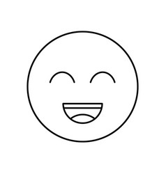 smile outline icon isolated lined vector image
