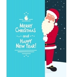Smiling Santa Claus wearing red hat and glasses vector