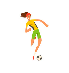 soccer player in green and yellow uniform running vector image
