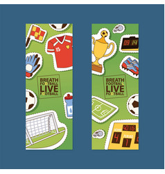 soccer soccerball sticker football pitch and vector image