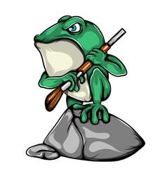 soldier green frog holding shoot gun vector image