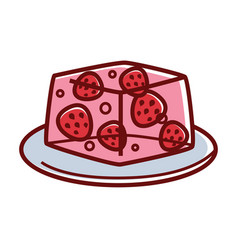 Strawberry jelly with whole berries inside on vector